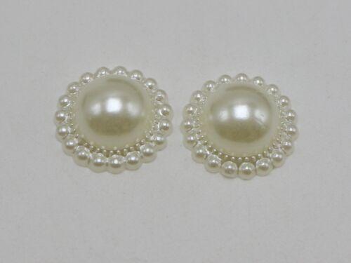 50 Ivory Acrylic Flatback Flower Pearl 16mm Half Pearl Scrapbook Craft