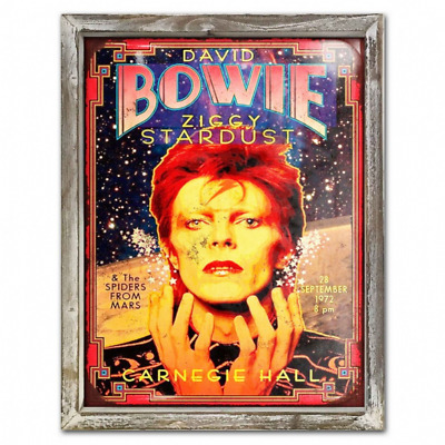 David Bowie 44cm x 34cm Wood Framed Metal Picture Art Ziggy Stardust Retro Music
