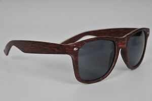 Wood-Style-Wayferer-Sunglasses-w-Tinted-Lens-Grey-Brown-Sunnies-Unisex-Party