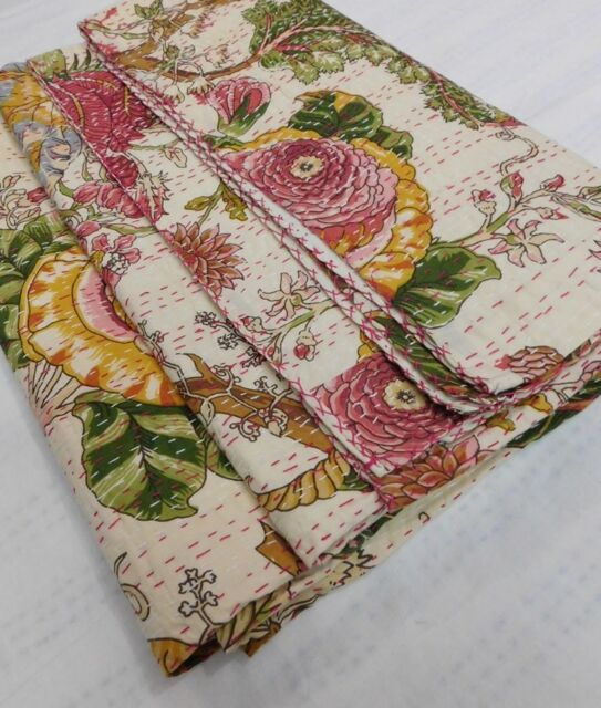 Indian Handmade Quilt Vintage Kantha Bedspread Throw Cotton Blanket Twin Gudari