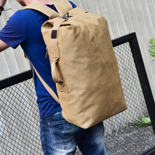 Tactical Large Canvas Backpack Bag Outdoor TRAVEL Hiking Camping Duffle Tote Bag