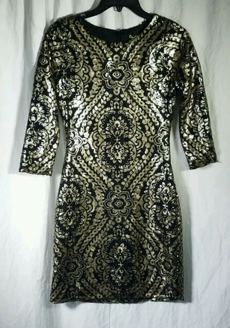 338ad0fe40 NWT Gianni Bini Stacia Black and Gold Sequin Dress Size XS MSRP  129
