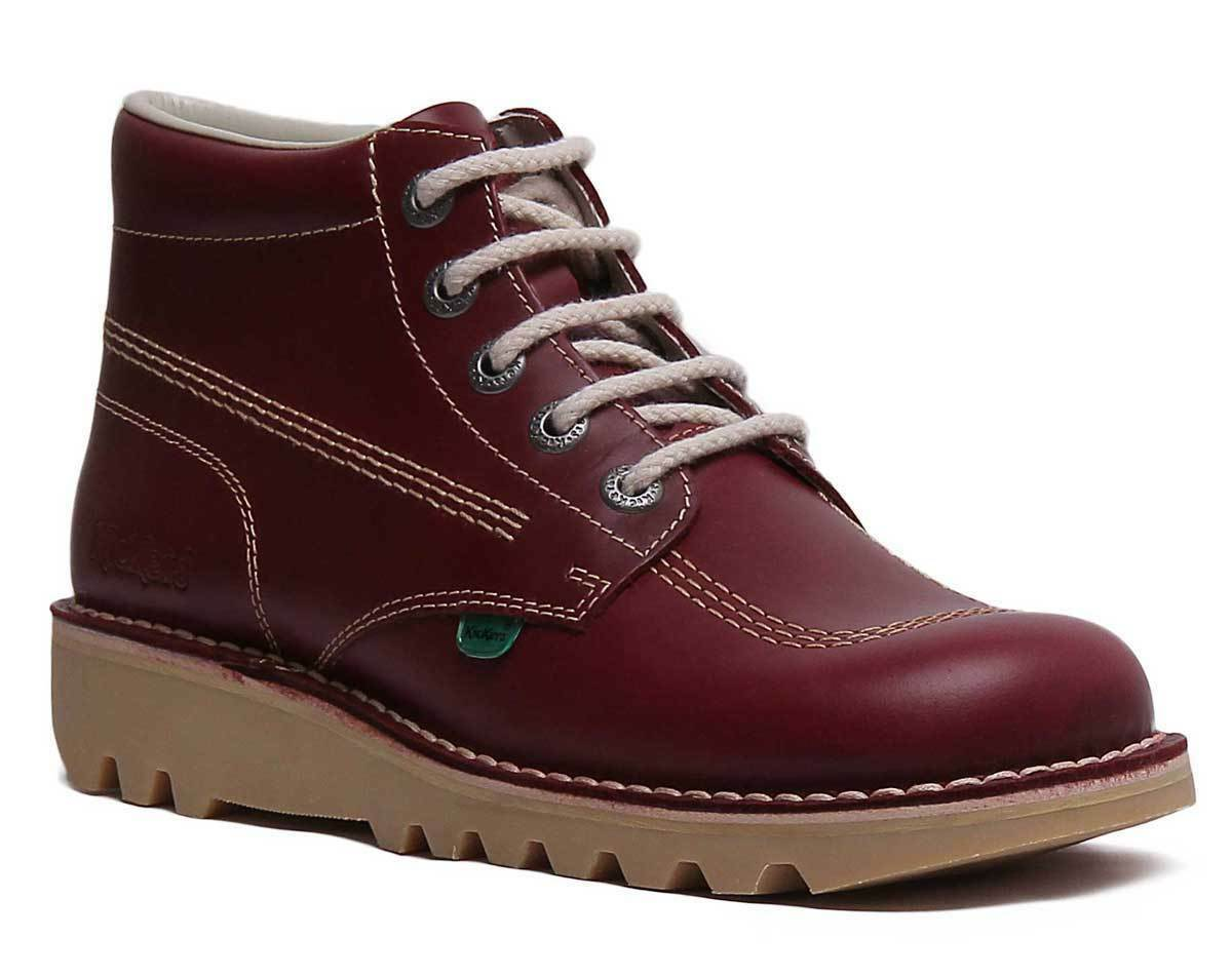 Kickers Kick Core Mens Leather Matt Dark Red Ankle Boots UK Size 6 - 12