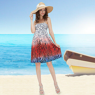 Spaghetti Straps Animal Printed Casual Summer Beach Dress 03679 US Seller