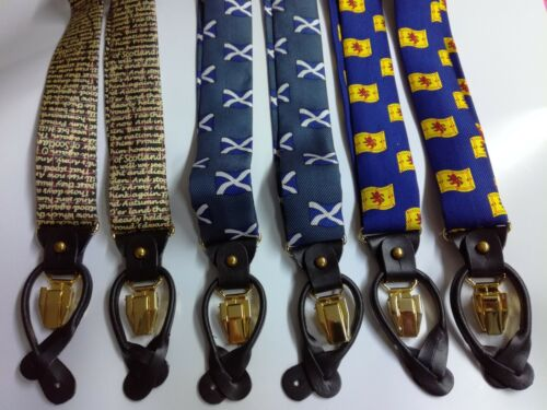 New 100/% Silk Adjustable 35mm Braces 6 Button Hole Leather Scottish RRP £24.95