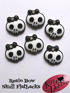 Skull-Bow-Resin-Flatback-6-25-50-100pcs-23mm-x-21mm-Resin-Cabochons-Bows-DIY