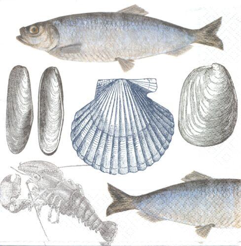 2 Serviettes en papier Poissons Coquillages Mer Decoupage Napkins Fish Shell