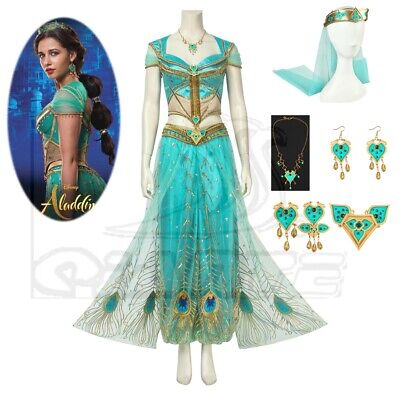 2019 Princess Jasmine Costume Halloween Cosplay Fancy Dress Deluxe Women Suit