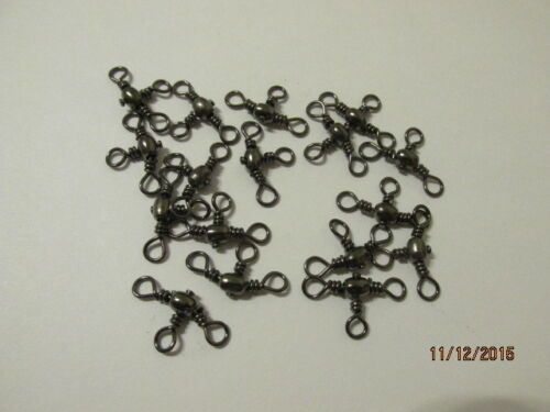 25 x size 6-3 Three Way polished nickle black Swivels Rig Links sea fishing