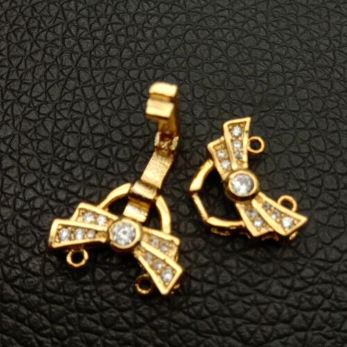 15x25mm 18k gold plated Cubic Zirconia micro pave bowknot  2strands clasp