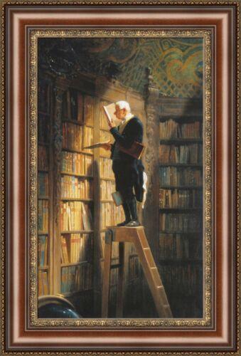 "Carl Spitzweg The Book Worm Framed Canvas Giclee Print 18/""x27/"" V14-11"