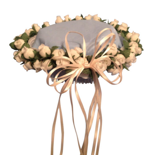 Ivory Silk Poly Rose Halo Flower Girl Head Piece Band with Green Leaves