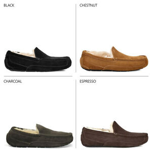 Ugg-Australia-Mens-Ascot-Slippers-Suede-Leather-Loafer-Outdoor-Slipper