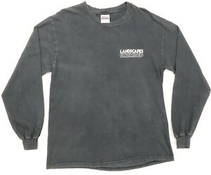 Hanes-Beefy-T-Mens-Large-Faded-Black-Long-Sleeve-VTG-TShirt-Landscapes-Unlimited