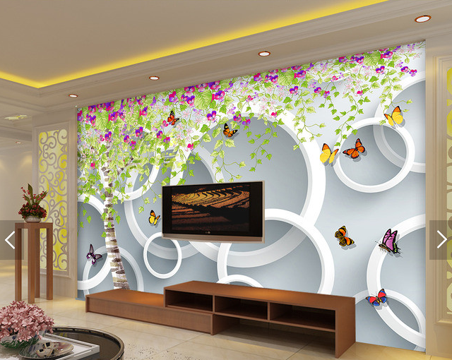 3D Butterfly Circle 8 Wall Paper Murals Wall Print Wall Wallpaper Mural AU Lemon
