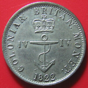 1822-BRITISH-WEST-INDIES-1-4-DOLLAR-SILVER-ANCHOR-SUPERB-amp-RARE-COLONIAL-COIN