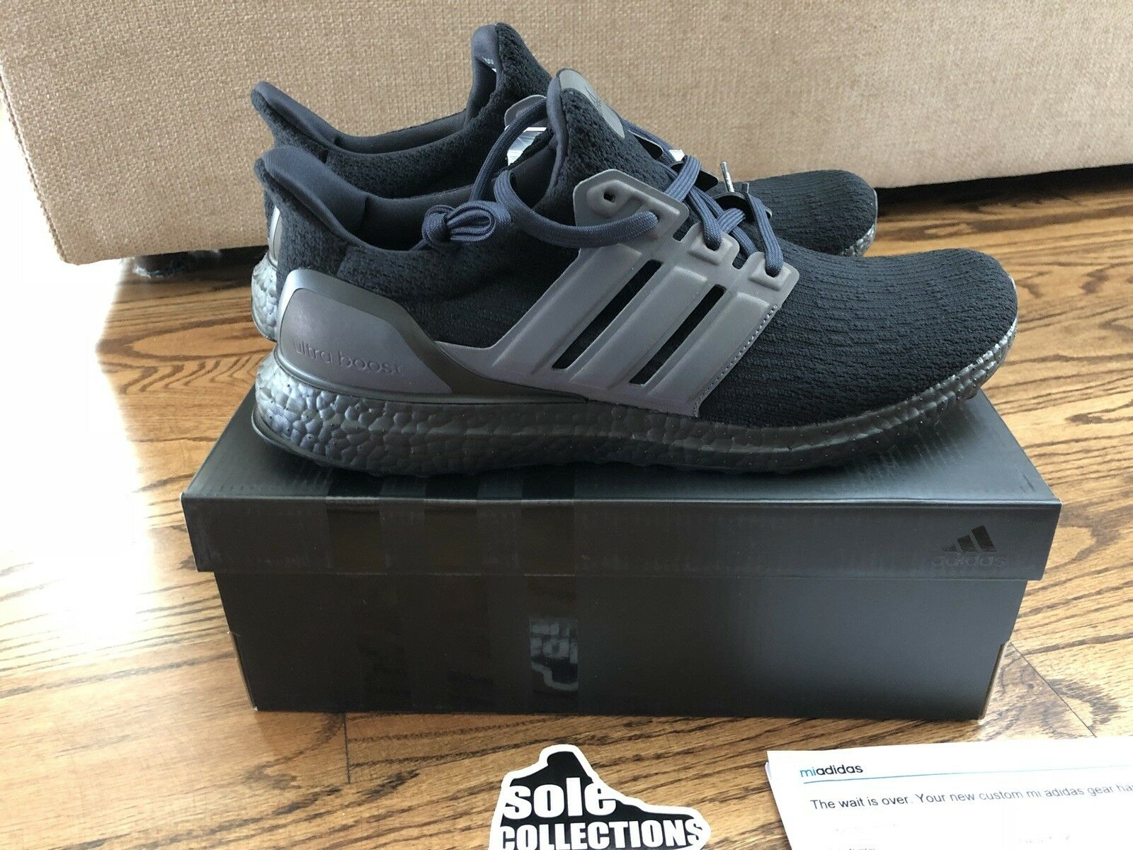 DS Adidas Ultra Boost Zeno 3M primeknit running triple black UB mens size 11.5