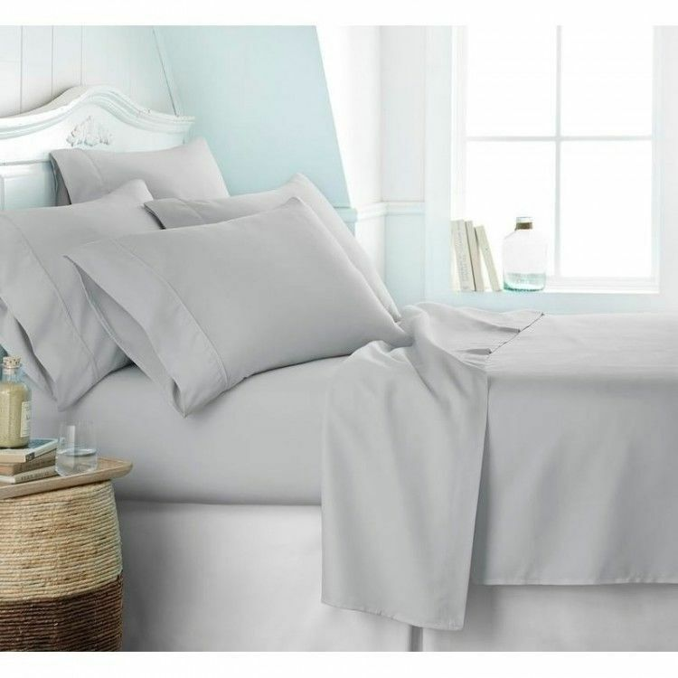 Luxurious Bedding Set Light Grey Solid 800 Thread Count Pure Cotton All Size