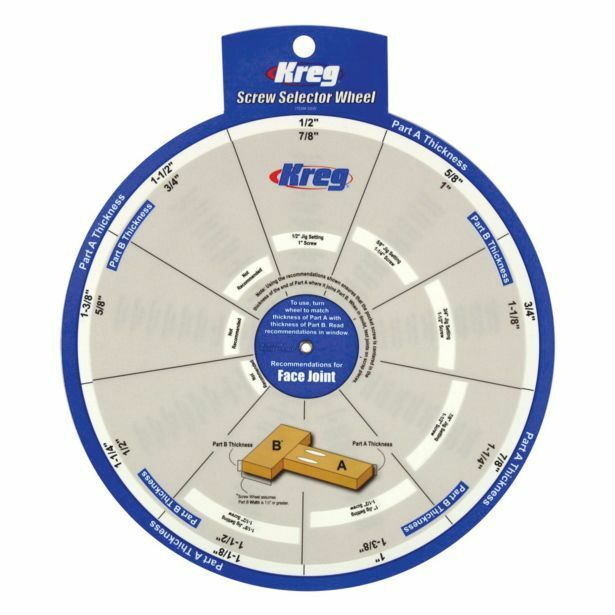 Kreg SCREW SELECTOR WHEEL Two-Sided, Shows Face & Edge Joints, Tab With Hole