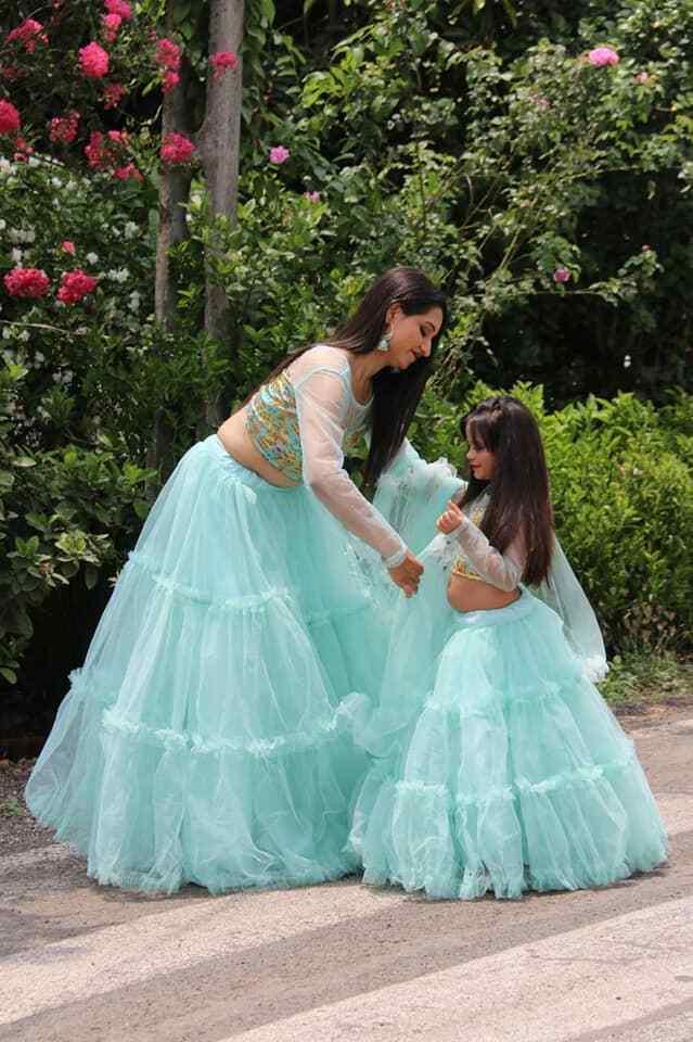 Stunning Ruffle Mother Daughter Lehenga Combo Kids Suit Lengha Choli Pakistani