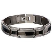 Inox Men's Stainless Steel Matte & Polish Finish Ip Black Line Bracelet Br9011