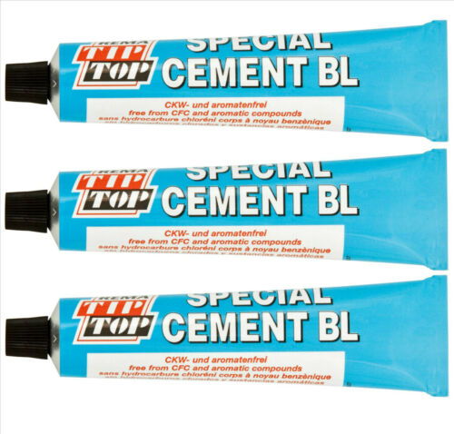 3 x Rema Tip Top Special Vulcanizing Cement 30g Tube For Tyre Patches Plugs
