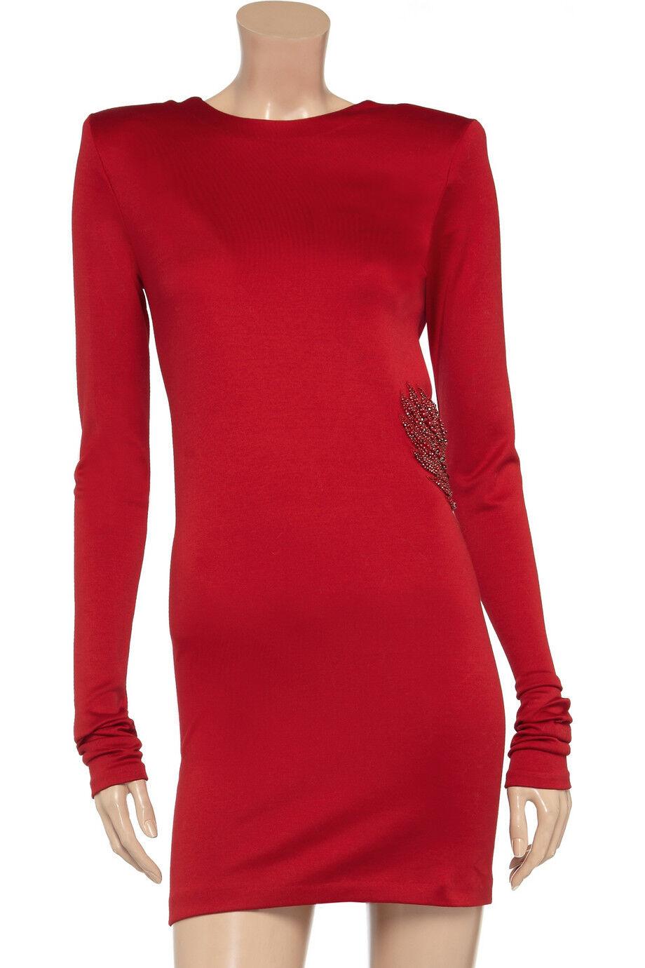 Balmain Red EMBROIDERED BIRD Dress Dress Dress Sz 40 Retail  3,870 NEW c51161