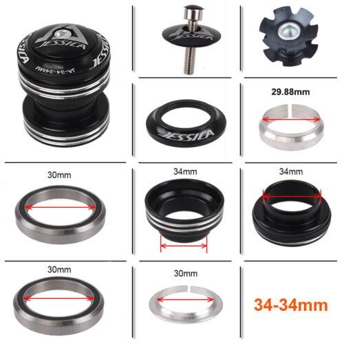 "JESSICA 34mm Headset 1-1//8/"" Threadless MTB Road Bike Sealed Bearings Headset"