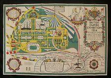 1924 British Empire Exhibition Poster Map Showing Underground, Train & Bus Links