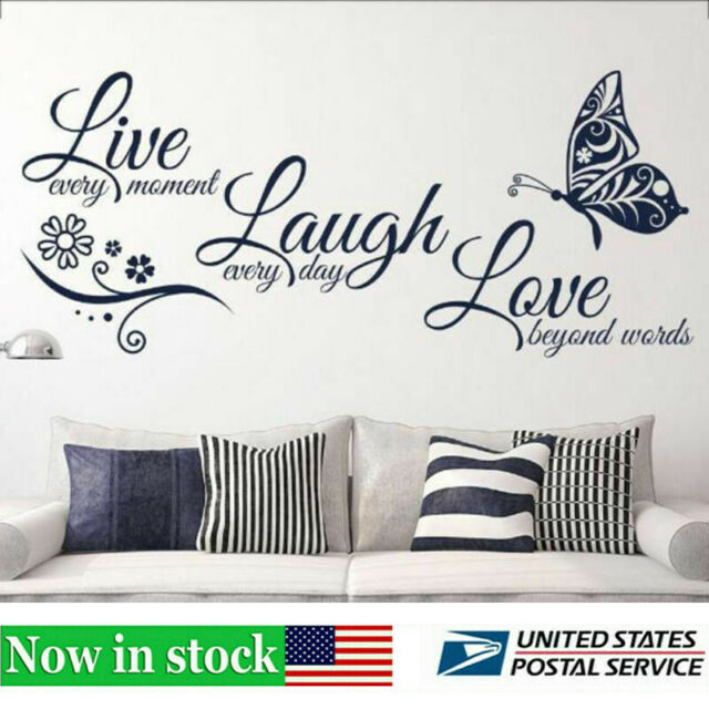 Home Decor Live Laugh Love Quotes Butterfly Wall Art Stickers Living Room Decal For Sale Online