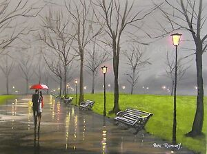 Pete-Rumney-Art-Original-Canvas-Painting-Park-Couple-Red-Umbrella-Rain-Artwork