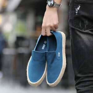 Men-039-s-Casual-Canvas-Shoes-Cloth-Shoes-Leisure-Slip-on-Loafers-Flat-Breathable