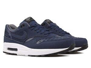 separation shoes 7cc44 31050 Image is loading Nike-Air-Max-1-Woven-Midnight-Navy-White-