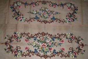 EP-805-1-amp-2-Vintage-Sofa-Seat-Back-Set-Preworked-Design-Needlepoint-Canvas