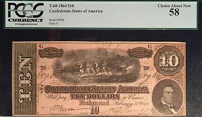 AC T-68 $10 1864 Confederate CSA PCGS 58 PPQ