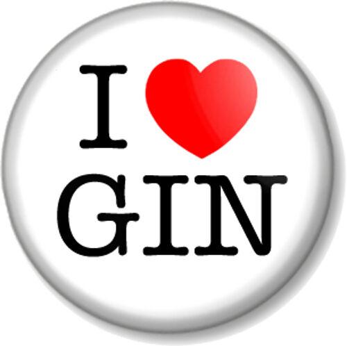 "I Love Heart GIN 1/"" 25mm Pin Button Badge favourite drink booze alcohol spirit"