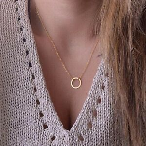 Simple-Dainty-Gold-Plated-Karma-Infinity-Circle-Pendant-Necklace-USA-Seller-N37