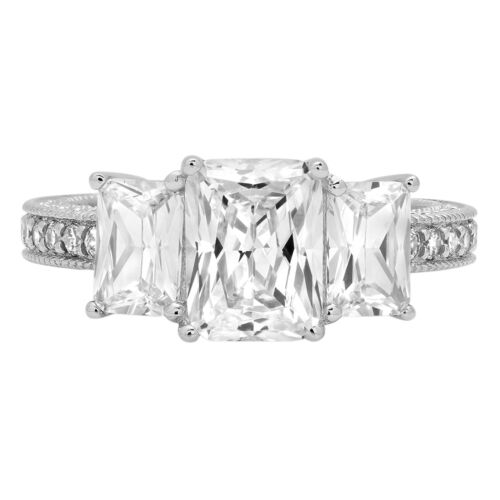 4.06ct Accent 3 Stone Emerald Engagement Wedding Statement Ring 14K White Gold