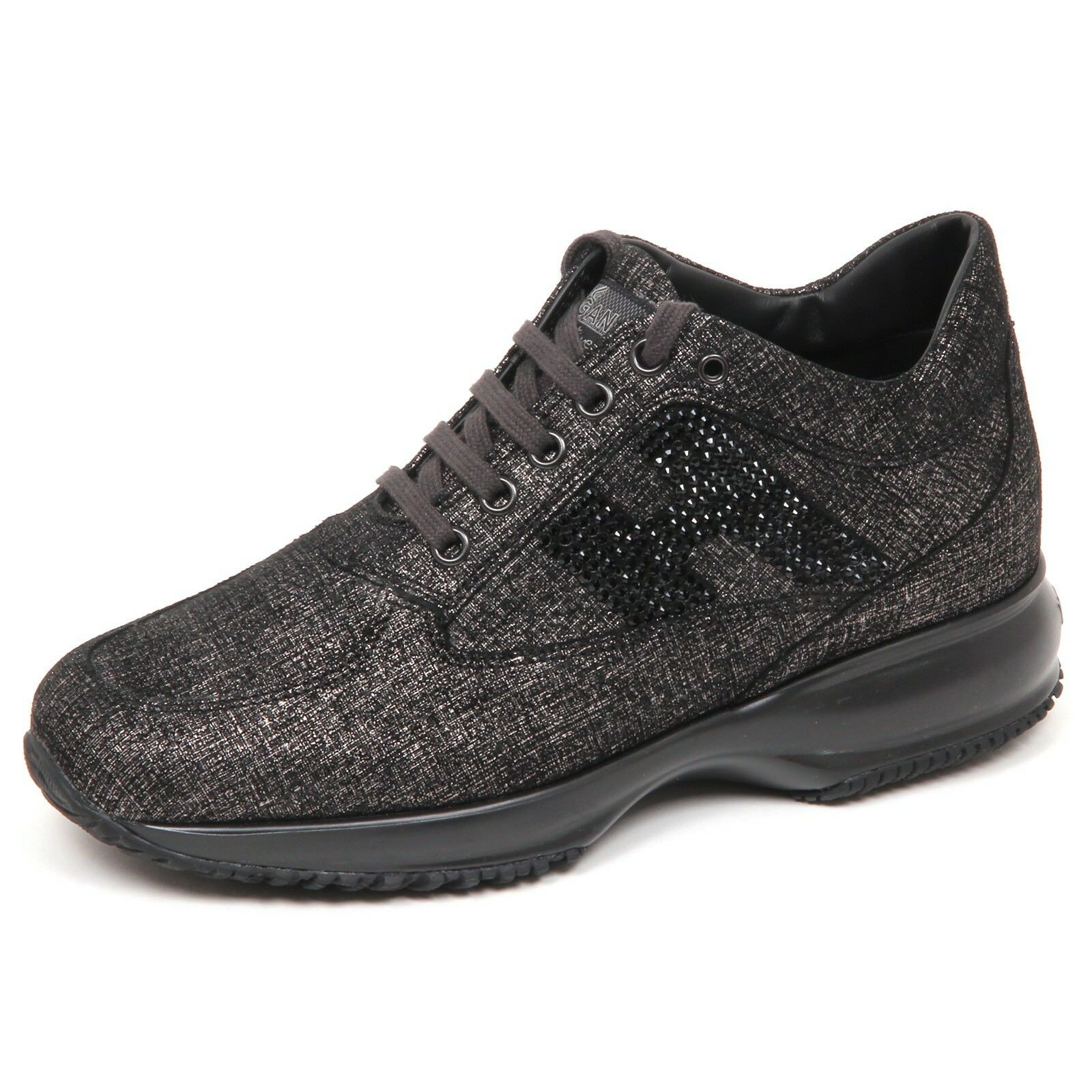 E4302 sneaker mujer  nero/platino HOGAN INTERACTIVE  Zapatos  H strass  mujer Zapatos  Mujer 4e7dd2