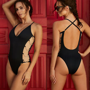 2d8db761b5998 Women V Neck Swimsuit Backless Monokini One Piece Bikini Swimwear ...