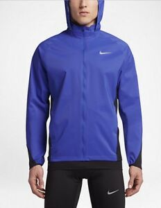 Nike-Shield-Men-039-s-Running-Jacket-Zoned-Weather-Resistant-Hoodie-2A-BLUE-SMALL