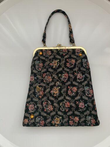 Vintage 50s Tapestry Black Floral Bag Purse Beaded