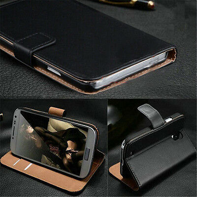 Black Luxury Leather Flip Case Wallet Cover Skin For Samsung Galaxy iPhone