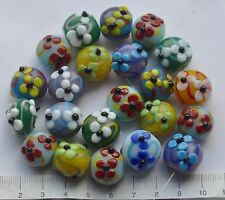 100 gm mix of lampwork glass beads,(approx 22 beads)    CHUNKY / DISCS