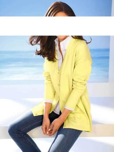 Ashley Brooke Designer-Strickjacke m gelb Gr 36 bis 52 Cardigan Seide