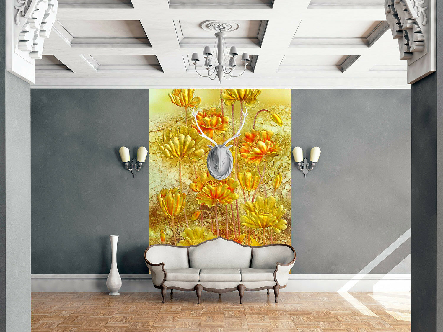 3D Golden Lotus 4001 Wallpaper Murals Wall Print Wallpaper Mural AJ WALL AU Kyra