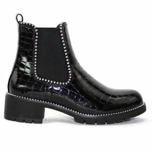WOMENS GEM STUDDED LOW HEEL CHELSEA ANKLE BOOTS BOOTIES SHOES LADIES UK SIZE 3-8