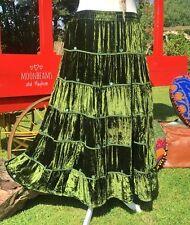 DIVINE NEW GREEN VELVET BOHEMIAN SKIRT SIZE 10 12 14 HIPPIE BOHO DRESS GYPSY