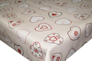 Detalles de Corazones Amor beige y rojo pvc Mantel Vinilo Hule Cocina Mesa  De Comedor- ver título original