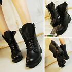 Womens Lace Up Ankle Military Army Combat Pu Leather Boots Military Lady Shoes